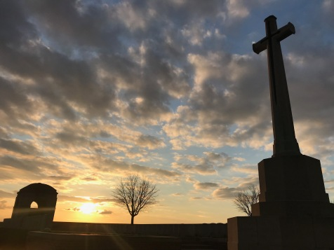 Ovillers Military Cemetery at sunset